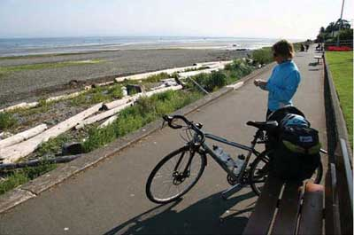 Cyclist at Qualicum Beach