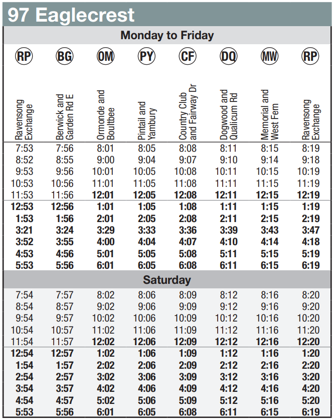 Route 97 Schedule