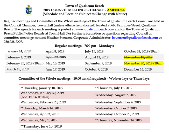2019 Meeting Schedule Amended
