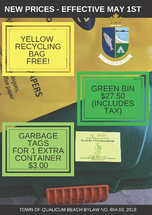 New Prices for Garbage Tags & Green Bins Effective May 1st